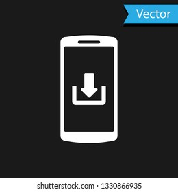 White Smartphone with download icon isolated on black background. Vector Illustration