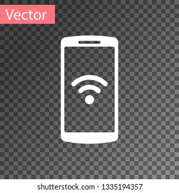 White Smartphone with free wi-fi wireless connection icon on transparent background. Wireless technology, wi-fi connection, wireless network, hotspot concepts. Vector Illustration