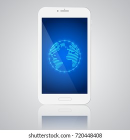 White smartphone with globe on the display on grey background, World communication concept. Vector illustration