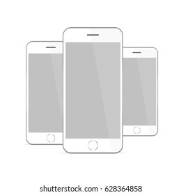 White smartphone iPhone 6 isolated. Responsive mockup to display your mobile website screenshots or applications. Mockup files are well grouped which are easy to edit & use. Vector illustration