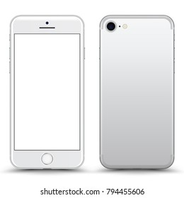 White Smartphone Mockup with Blank Screen Isolated. Realistic Front and Back View For Print, Web, Application. High Detailed Device Mock Up Separate Groups and Layers. Easily Editable Vector.