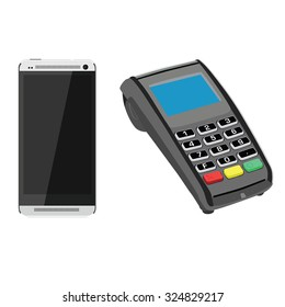 White smartphone and pos terminal, payment and shopping icon
