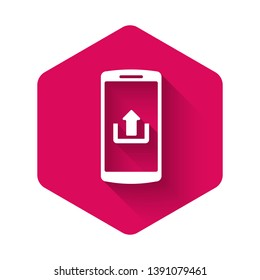 White Smartphone with upload icon isolated with long shadow. Pink hexagon button. Vector Illustration