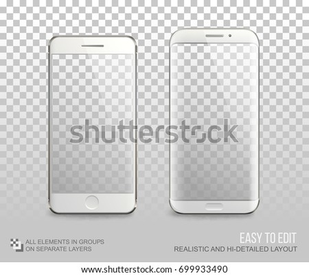White Smartphone Vector Mock Up Template With Blank Screen On Transparent Background Smart Phone