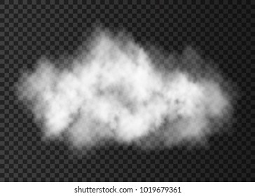 White  smoke explosion   isolated on transparent background.  Steam  cloud  special effect.  Realistic  vector   fire fog or mist texture .