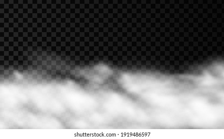 White smoke or fog vector background. Isolated mist transparent effect. Steam texture illustration. Powder explosion concept.