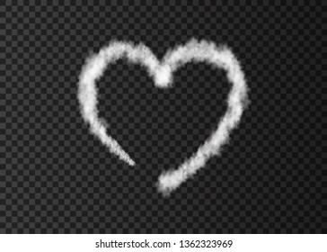 White smoke  plane  heart trail isolated on transparent background.  Love. Steam  effect.  Realistic  vector fog or cloud  for Valentine day banner template .