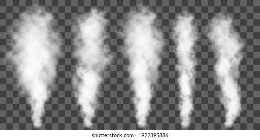 White smoke puff isolated on transparent background.. PNG. . Vector illustration
