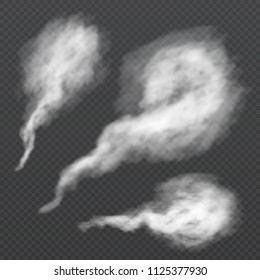 White smoke puff, vapour trail. Vector steam flow isolated on transparent background. Illustration of steam smoke and mist, cloud of cigarette