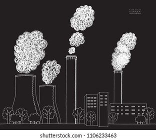 White smokestack on black background. Illustration of air pollution caused by fume from factory and plant pipe, tube, trunk. Coal station. Hand drawn vector sketch