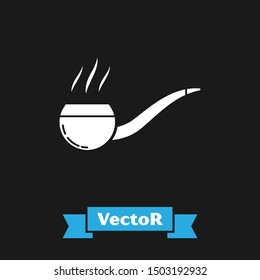 White Smoking pipe with smoke icon isolated on black background. Tobacco pipe.  Vector Illustration