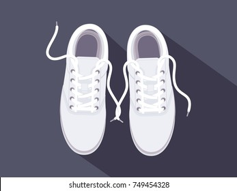 White sneakers. Sport shoes. Shoes for running. Vector illustration