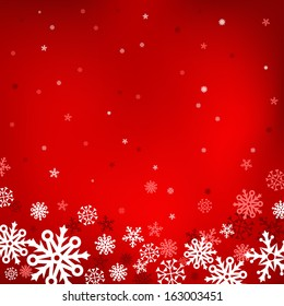 The white snow on the red mesh background, winter and Cristmas theme