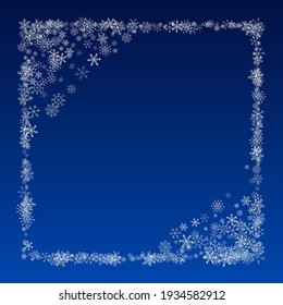 White Snow Vector Blue Background. Christmas Snowflake Banner. Gray Light Card. Abstract Snowfall Holiday.