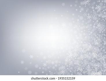White Snow Vector Gray Background. magic Snowfall Wallpaper. Gray Holiday Banner. New Snowflake Holiday.