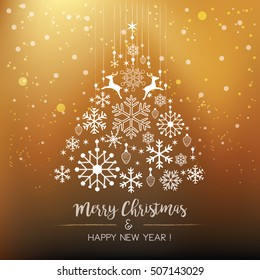 White snowflake Christmas tree on gold background. Christmas vector card