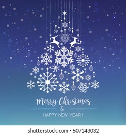 White snowflake Christmas tree on blue background. Christmas vector card
