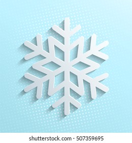 White snowflake icon isolated on blue sky background. Symbol of snow, holiday, cold weather, frost. Winter design element.