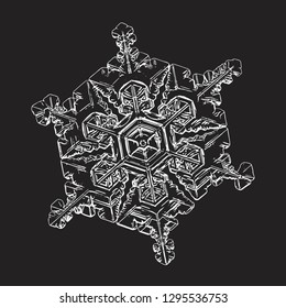 White snowflake isolated on black background. Vector illustration based on macro photo of real snow crystal: elegant star plate with hexagonal symmetry, six short broad arms and complex inner details.