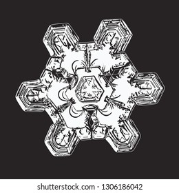 White snowflake isolated on black background. Vector illustration based on macro photo of real snow crystal: elegant star plate with short, broad arms, hexagonal symmery and complex inner details.