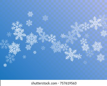 White snowflake macro vector illustration, snow flakes confetti chaotic scatter card in blue and white. Winter xmas snow background. Flakes falling and flying winter trendy vector background.