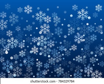 White snowflake macro vector illustration, snow flakes confetti chaotic scatter card in blue and white. Winter xmas snow background. Flakes falling and flying winter vector background.
