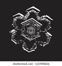 White snowflake on black background. This vector illustration based on macro photo of real snow crystal: small star plate with simple hexagonal shape and unusually complex inner pattern for such size.