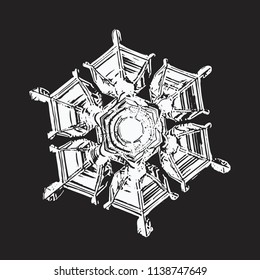 White snowflake on black background. This vector illustration based on macro photo of real snow crystal: small star plate with perfect hexagonal symmetry, relief surface and unusual central pattern.