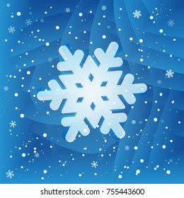 White snowflake on blue background with little pieces of falling snowflakes. New year gift card
