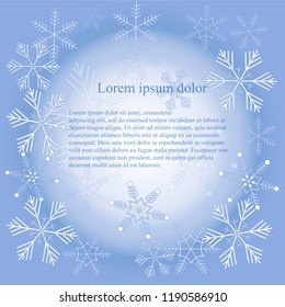 White snowflakes on blue background, texture, Lorem Ipsum, gradient design element stock vector illustration, winter design for web, for print