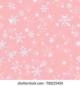 White snowflakes seamless pattern on pink Christmas background.