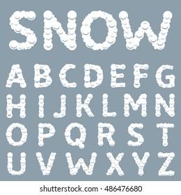 White Snowy alphabet Winter letters Christmas font Vector illustration