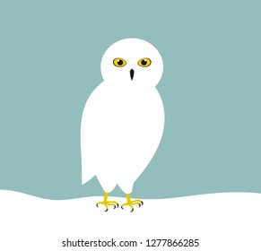 White snowy owl in snow. Vector illustration.