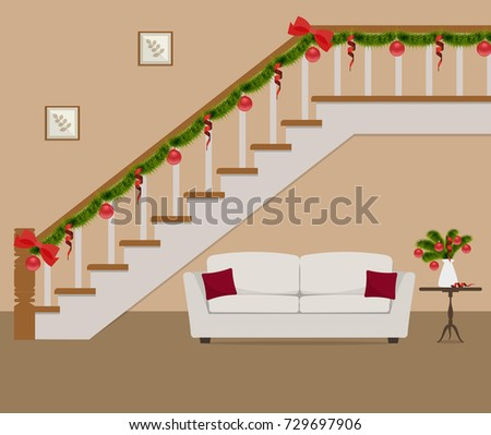 White Sofa Pillows Located Under Stairs Stock Vector Royalty Free