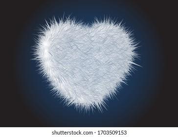 White Soft Fur Heart Design