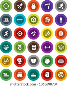 White Solid Icon Set- award cup vector, target, barbell, stadium, weight, hand trainer, fitball, boxing glove, shorts, skateboard, medal, sports nutrition, water bottle, shuttlecock, pool, hoop, run