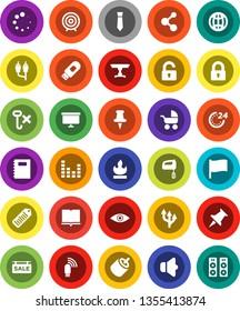 White Solid Icon Set- book vector, copybook, flag, target, presentation board, tie, molecule, no hook, flammable, barcode, speaker, equalizer, thumbtack, rca, eye, usb modem, loading, globe, lock