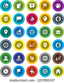 White Solid Icon Set- compass vector, world, flag, dollar, route, navigator, earth, map pin, traking, internet, connection, globe, arrow, home