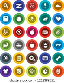 White Solid Icon Set- diet vector, measuring, scales, stadium, stopwatch, clipboard, jump rope, punching bag, fitball, muscule hand, snickers, t shirt, skateboard, pills, sports nutrition, calendar