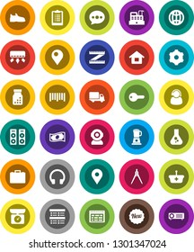 White Solid Icon Set- drawing compass vector, schedule, flask, exam, cash, case, measuring, clipboard, snickers, map pin, delivery, barcode, headphones, pills bottle, gear, message, globe, house