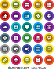 White Solid Icon Set- presentation vector, archive, personal information, graph, dollar growth, binder, board, barcode, music hit, social media, server, network folder, cloud shield, exchange, hub