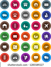 White Solid Icon Set- school bus vector, bike, Railway carriage, plane, traffic light, ship, truck trailer, sea container, delivery, car, port, consolidated cargo, warehouse, disabled, amkbulance