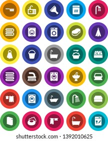 White Solid Icon Set- soap vector, scraper, fetlock, bucket, sponge, towel, bath, drying clothes, washer, washing powder, shower, sink, dishwasher