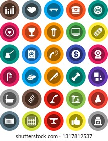 White Solid Icon Set- steaming vector, bath, washer, turk coffee, pen, bell, calculator, skateboard, bone, sea container, glass, barcode, equalizer, finger up, heart, crutches, loading, globe, pond