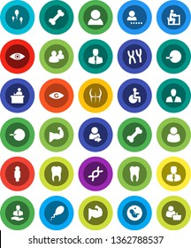 White Solid Icon Set- student vector, manager, man, muscule hand, buttocks, bone, client, group, disabled, eye, dna, pregnancy, insemination, chromosomes, sperm, tooth, login, consumer, customer