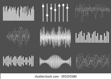 White sound music waves. Audio technology, visual musical pulse. Vector illustration.