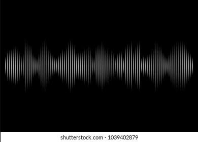 White sound wave on black background. Vector audio technology illustration.