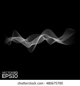 White Sound Waves. Abstract Background. Vector Illustration