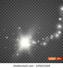 White sparks glitter special light effect. Vector sparkles on transparent background. Sparkling magic dust particles