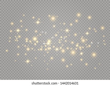 White sparks and golden stars glitter special light effect. Vector sparkles on transparent background.